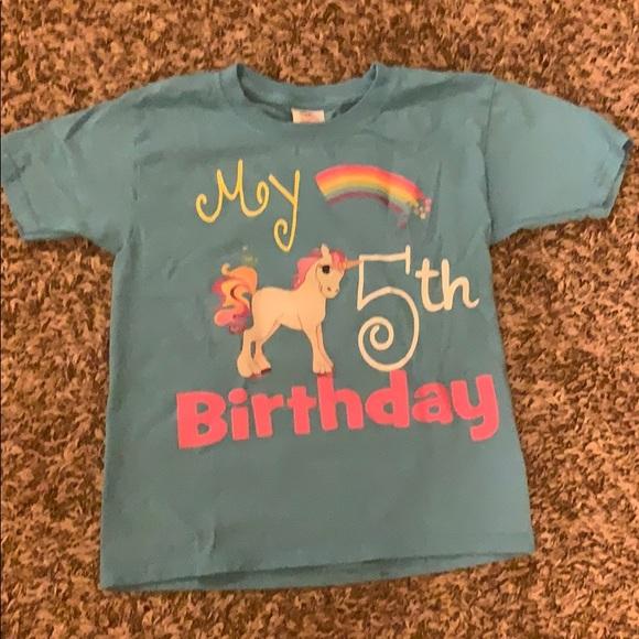 Blue My 5th Birthday Unicorn Shirt